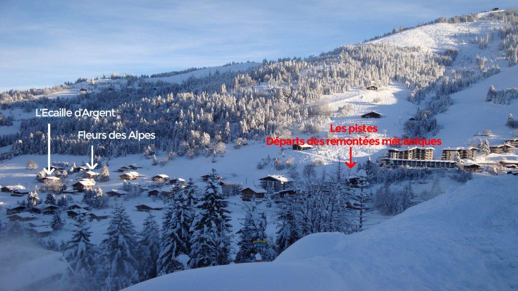 La Clusaz Locations - Chalet l'Ecaille d'Argent - Chalet Fleurs des Alpes - départ des pistes